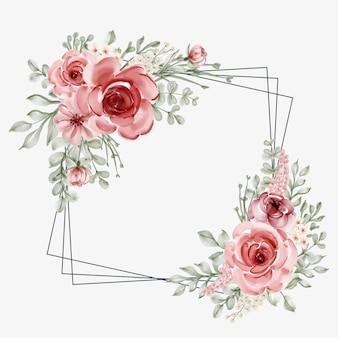Watercolor floral frame with square line border