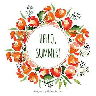 Watercolor floral frame with summer style