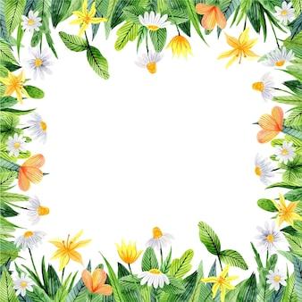 Акварельная цветочная рамка с полевыми цветами и листьями