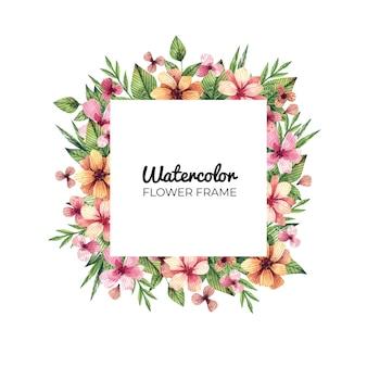 Акварель цветочная рамка с полевыми цветами. квадратная рамка с цветами