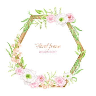 Watercolor floral frame with wooden hexagon. hand drawn geometric flower arrangement with greenery and blush flowers