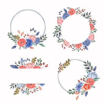 Watercolor floral frame and wreath collection