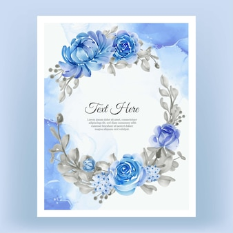 Watercolor floral frame wreath of flower blue