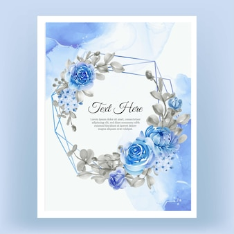 Акварель цветочная рамка венок цветок синий