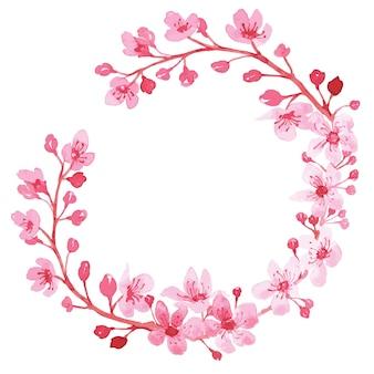 수채화 꽃 프레임, 화환