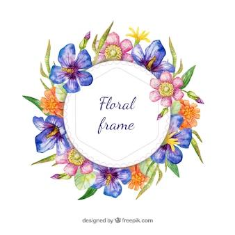 Акварельная цветочная рамка