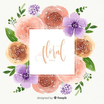 水彩花のフレーム