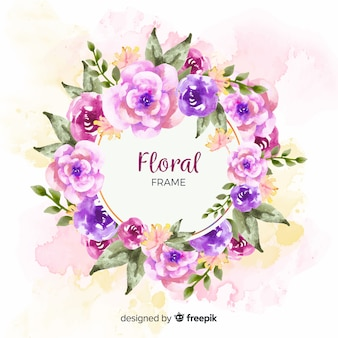Watercolor floral frame