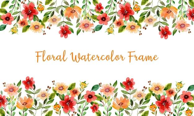 빨간색과 노란색 야생화와 수채화 꽃 프레임