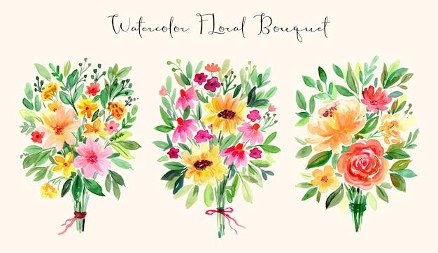 수채화 꽃 재미있는 색상 부케