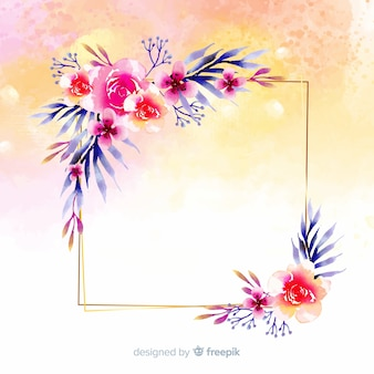 Watercolor floral geometric frame background
