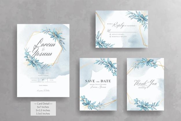 Акварель цветочная геометрическая рамка свадебные приглашения шаблон