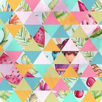 Watercolor floral geometric