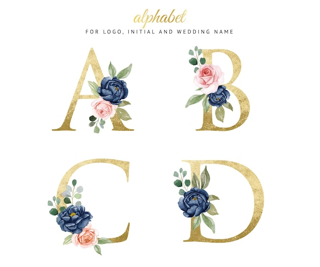 Watercolor floral gold alphabet set of a, b, c, d with navy and peach flowers . for logo, cards, branding, etc