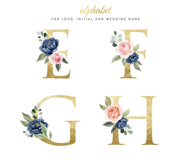 Watercolor floral gold alphabet set of e, f, g, h with navy and peach flowers . for logo, cards, branding, etc