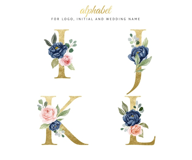 Watercolor floral gold alphabet set of i, j, k, l with navy and peach flowers . for logo, cards, branding, etc