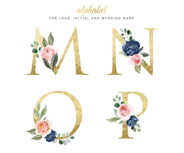Watercolor floral gold alphabet set of m, n, o, p with navy and peach flowers . for logo, cards, branding, etc