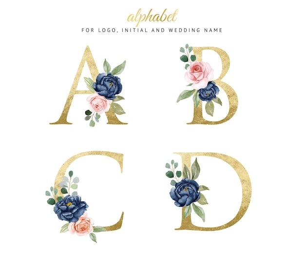 ネイビーとピーチの花とa、b、c、dの水彩花柄ゴールドアルファベットセット。ロゴ、カード、ブランディングなど