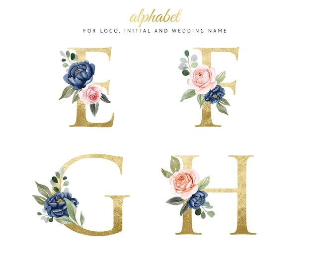 ネイビーとピーチの花とe、f、g、hの水彩花柄ゴールドアルファベットセット。ロゴ、カード、ブランディングなど