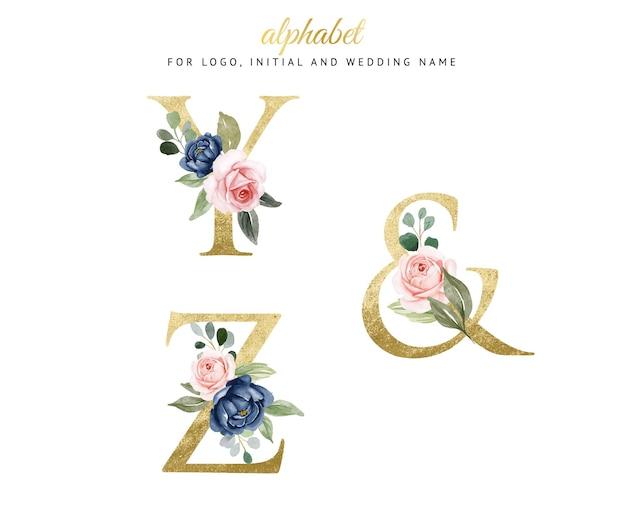ネイビーとピーチの花とy、zの水彩花柄ゴールドアルファベットセット。ロゴ、カード、ブランディングなど