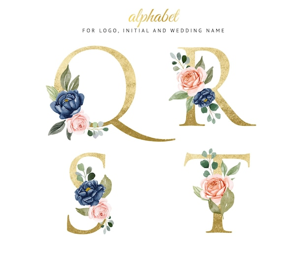 Watercolor floral gold alphabet set of q, r, s, t with navy and peach flowers . for logo, cards, branding, etc