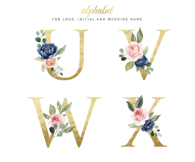 Watercolor floral gold alphabet set of u, v, w, x with navy and peach flowers . for logo, cards, branding, etc