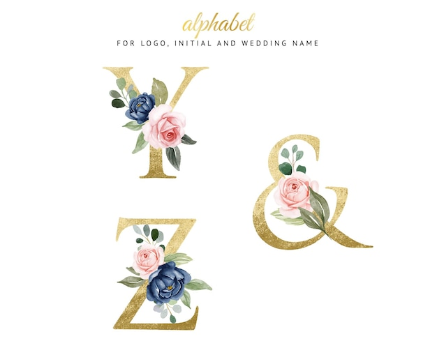 Watercolor floral gold alphabet set of y, z with navy and peach flowers . for logo, cards, branding, etc