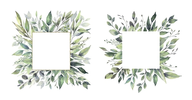 Watercolor floral green leaf frames.