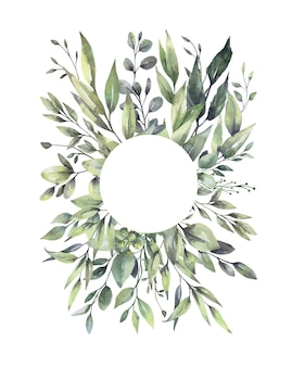 Watercolor floral green leaf wreaths.