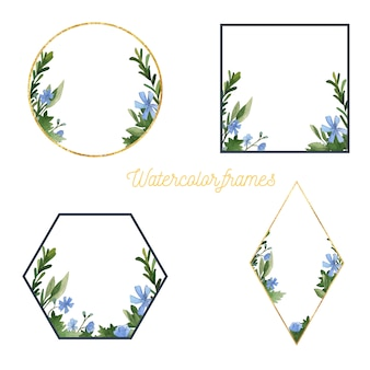 Watercolor floral and greenery frames collection. handdrawn elements.