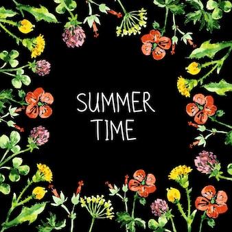 水彩花柄グリーティングカード。野花とヴィンテージのレトロな背景。夏のベクトルの背景