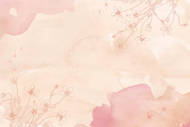 水彩花柄手描き背景