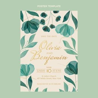 水彩花柄手描きの結婚式のポスター