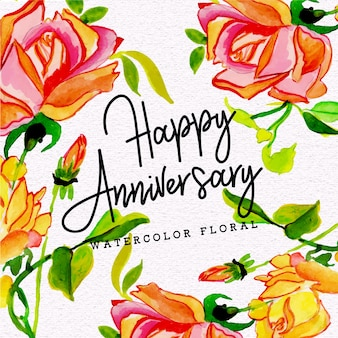 Watercolor Floral Happy Anniversary Background