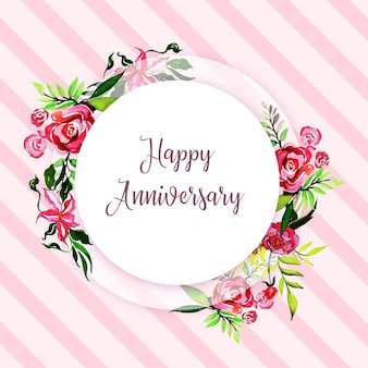 Watercolor Floral Happy Anniversary Frame Background