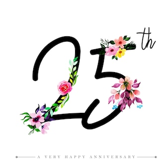 Watercolor floral happy anniversary number 25