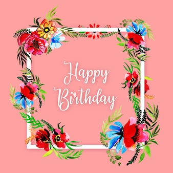 Watercolor Floral Happy Birthday Frame Background