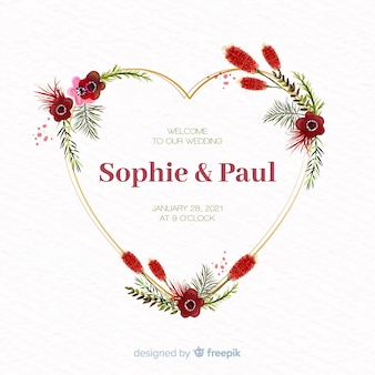 Watercolor floral heart frame wedding invitation