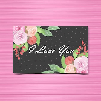 Watercolor floral i love you card