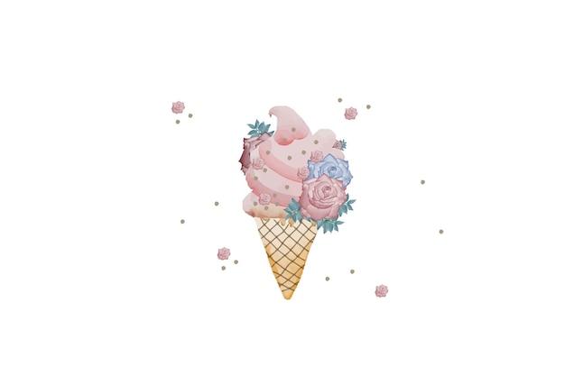 Акварель цветочное мороженое, изолированные на белом фоне