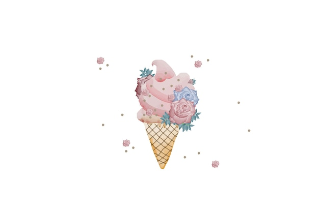 Watercolor   floral ice cream isolated on white background