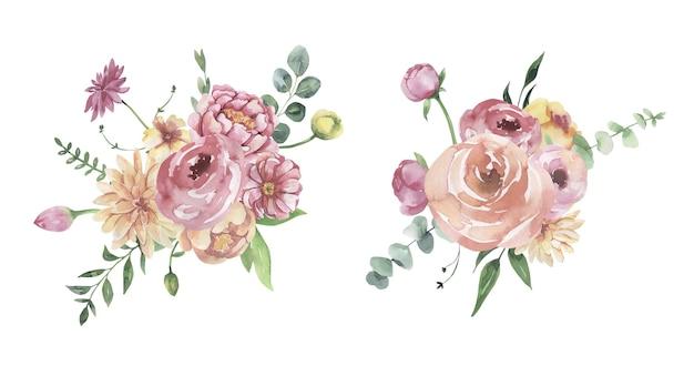 水彩花のイラスト-花束。