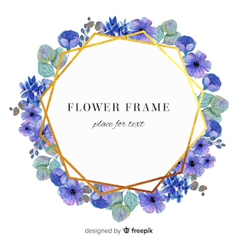 Watercolor floral in geometric golden frame