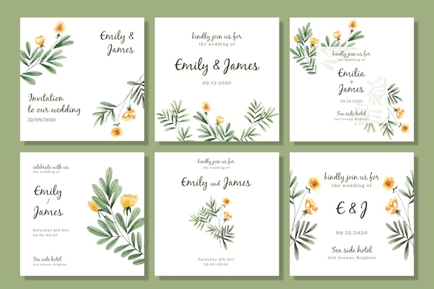 Watercolor floral instagram posts collection for wedding
