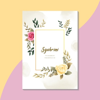 Watercolor floral invitation card template vintage style