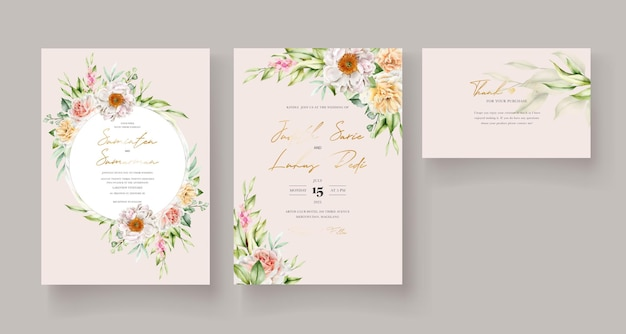 Watercolor floral invitation card template