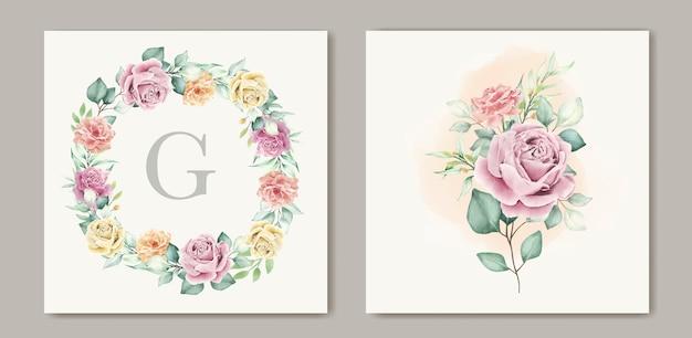 수채화 꽃 초대 카드