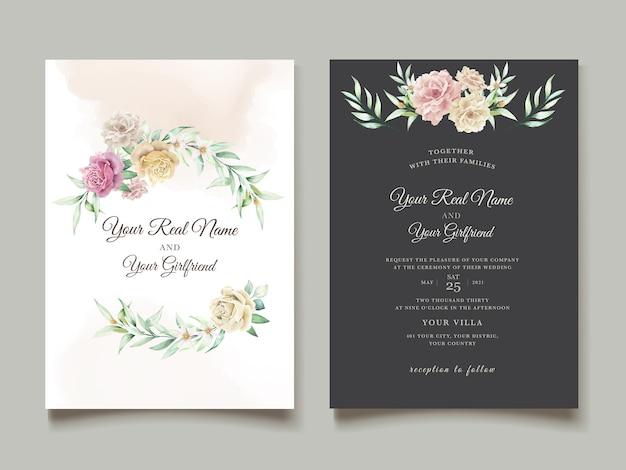 Watercolor floral invitation card