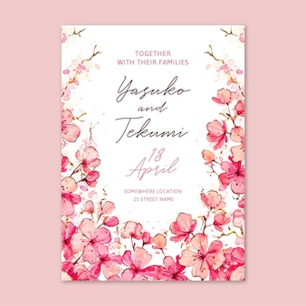 Watercolor floral japanese wedding invitation