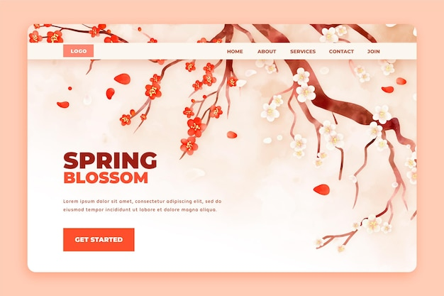 Watercolor floral landing page template